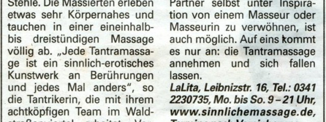LaLita in der Leipziger Volkszeitung Extra-Beilage vom 11.09.2009